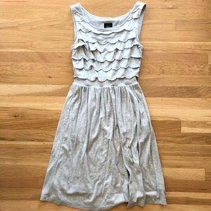 Anthropologie Deletta silver scallop dress